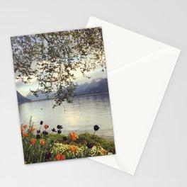 Lake Geneva and Alps, Montreux, Switzerland Stationery Cards