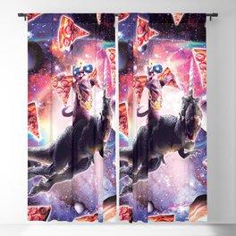 Thug Space Cat On Dinosaur Unicorn - Pizza Blackout Curtain