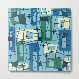Mid Century Modern Cosmic Squares Pattern 328 Blue and Green Metal Print