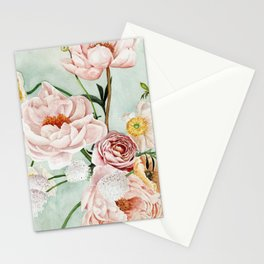 Blue Oval Peonies & Poppies Stationery Cards