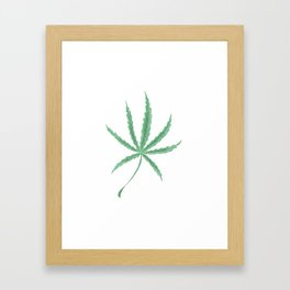Hemp single leaf no. 7 - cannabis plant Framed Art Print