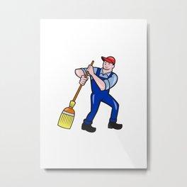Janitor Cleaner Holding Mop Bucket Cartoon Metal Print