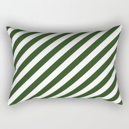 Large Dark Forest Green and White Candy Cane Stripes Rectangular Pillow