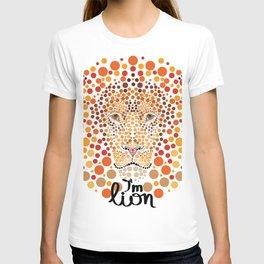 lion illustration pointillism T-shirt