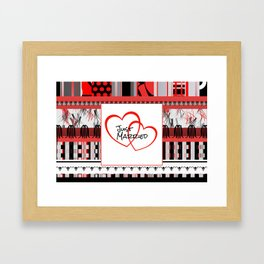just Married Hearts white pattern I Framed Art Print