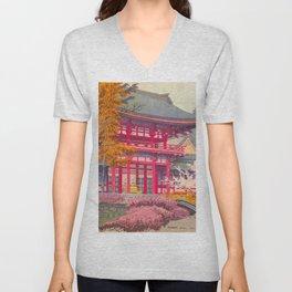 Japanese Woodblock Print Vintage Bright East Asian Red Pagoda Spring Garden Unisex V-Neck