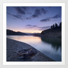 """Mountain light"". Blue sunset II. Art Print"
