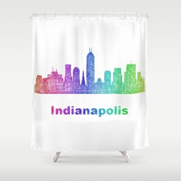 Rainbow Indianapolis skyline Shower Curtain