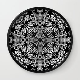 Nordic Style Fallen Leaves Black and White Kaleidoscope Wall Clock