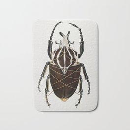 """""""Stifled""""- Painting of Goliath beetle wrapped in gold string Bath Mat"""