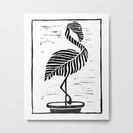 Flamingo Plant Block Print Metal Print