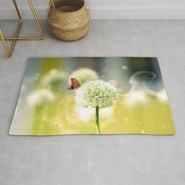 Allium fantasy flowers with butterfly Rug
