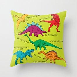 Dinosaur Print - Colors Throw Pillow