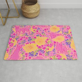 Cat Bouquet pink magenta Rug