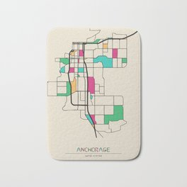 Colorful City Maps: Anchorage, Alaska Bath Mat