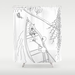 alien and monster - gondola Shower Curtain