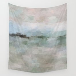 Sage Green Sky Blue Blush Pink Abstract Nature Sunrise Reflection Wall Art Painting Land Sky Earth Wall Tapestry