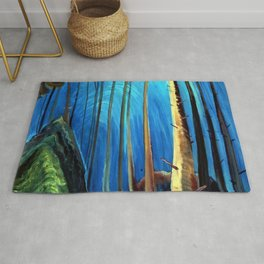 Big Sky Country, Forest Morning Blue portrait painting by Emily Carr Rug
