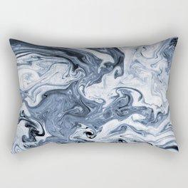 Isao - spilled ink art print marble blue indigo india ink original waves ocean watercolor painting  Rectangular Pillow