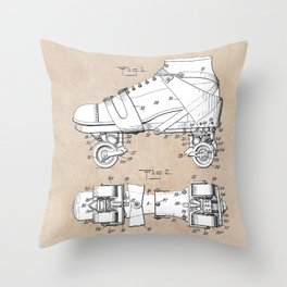 patent art Plimpton Roller Skate 1907 Throw Pillow