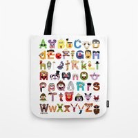 sesame street Tote Bags featuring Sesame Street Alphabet by Mike Boon