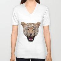 jaguar V-neck T-shirts featuring jaguar by fizziponi