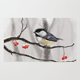 Winter Chickadee Rug
