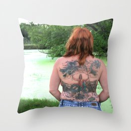 Waiting for Her Merman Throw Pillow
