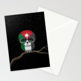 Baby Owl with Glasses and Jordanian Flag Stationery Cards