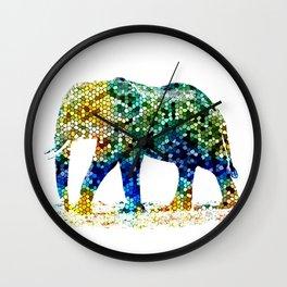 Mosaic Elephant Wall Clock