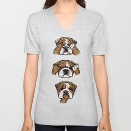No Evil English Bulldog Unisex V-Neck