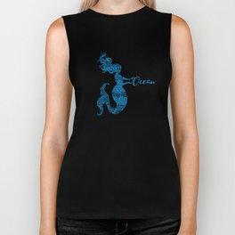 Save the Ocean Mermaid - Word Cloud Blue Biker Tank