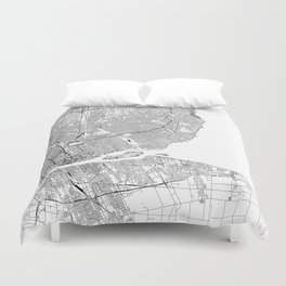 Detroit White Map Duvet Cover
