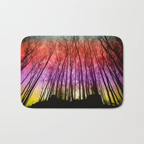 Colorful forest silhoutte Bath Mat
