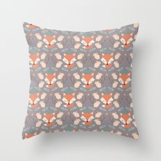 Foxes and rabbits Throw Pillow
