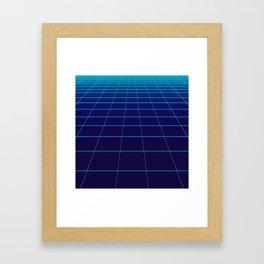 Minimalist Blue Gradient Grid Lines Framed Art Print