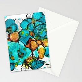 Aqua Bouquet Stationery Cards