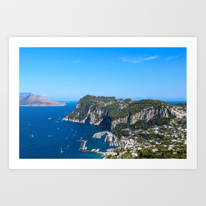 Blue Skies in Capri, Italy Art Print