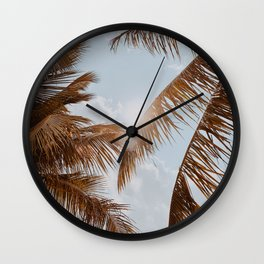 tropical palm leaves v Wall Clock