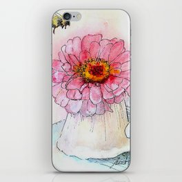 Botanical Flower Pink Zinnias in Pitcher iPhone Skin