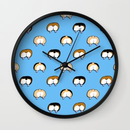 corgi butt polka dots on blue Wall Clock