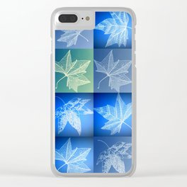 blue leaf drawings Clear iPhone Case