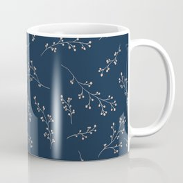 Berry Branches Pattern in Blue and Pink Coffee Mug
