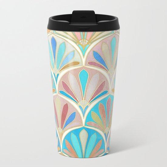 Vintage Twenties Art Deco Pastel Pattern Metal Travel Mug