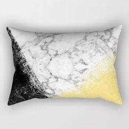 Astra - marble black and gold abstract art minimalist home decor office dorm nursery Rectangular Pillow