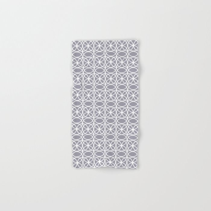 Pantone Lilac Gray and White Rings Circle Heaven 2, Overlapping Ring Design - Digital Artwork Hand & Bath Towel