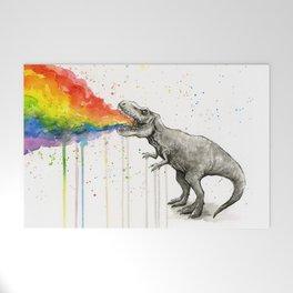 T-Rex Rainbow Puke Welcome Mat