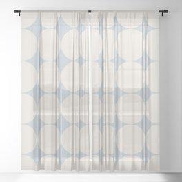 Circular Minimalism - Pastel Blue Sheer Curtain