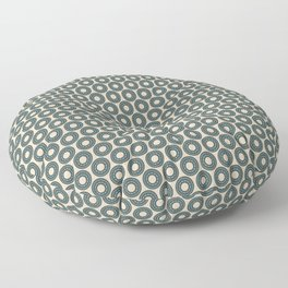 Circle Polka Dot Pattern 4, Night Watch, Cave Pearl Green Alpaca Wool Cream and Scarborough Green Floor Pillow