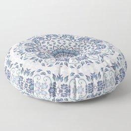 Grayish Blue White Flowers Mandala Floor Pillow